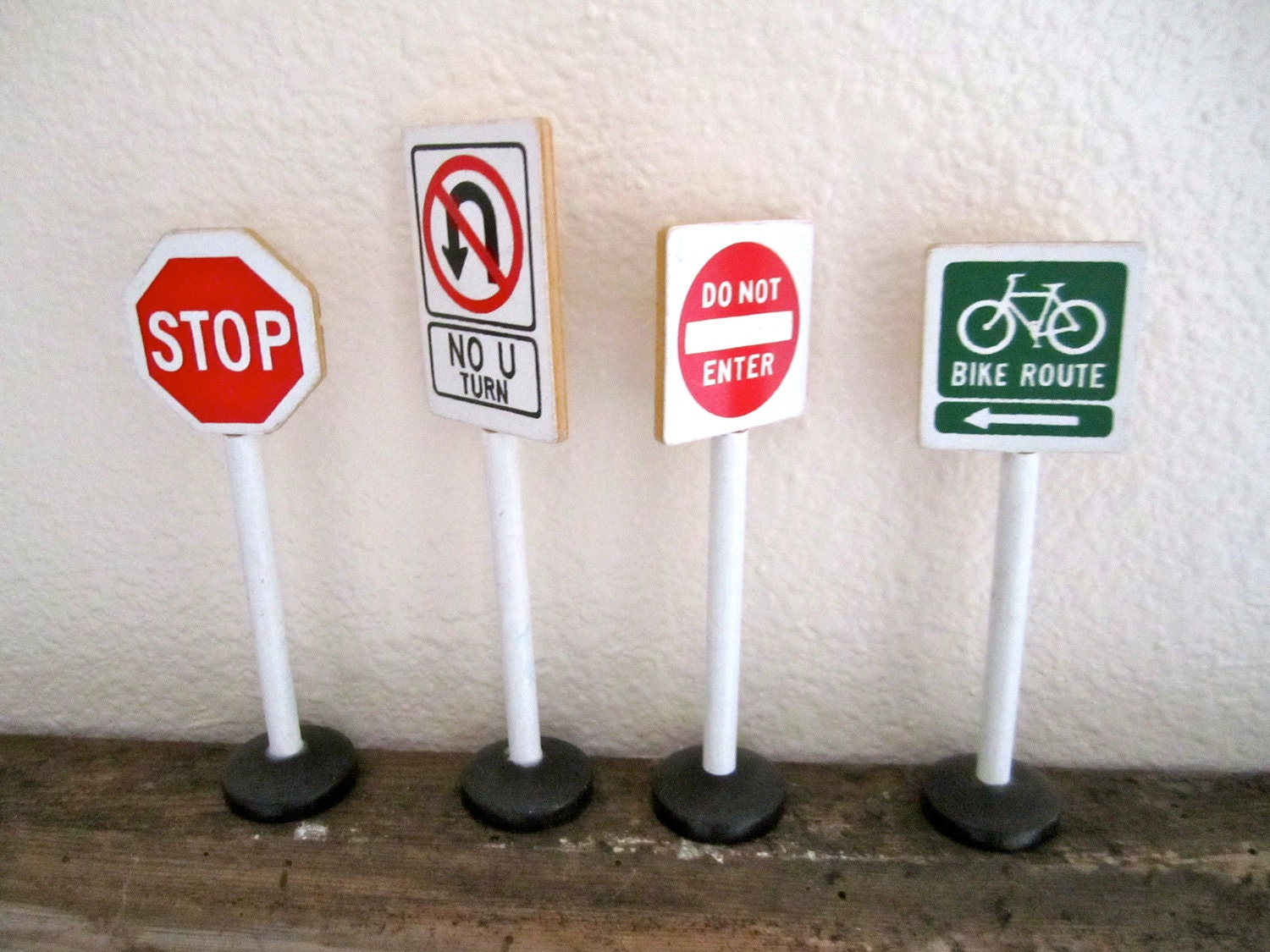 Toy Road Signs Wood bike route stop no u turn do not