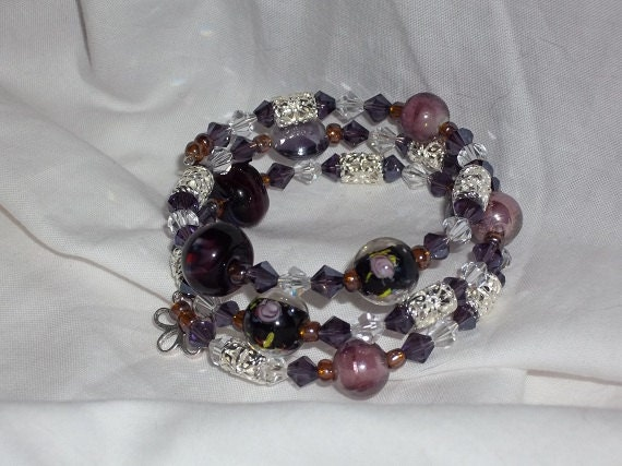 Amethyst Mix memory wire bracelet