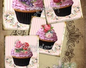 Digital collage sheet - vintage shabby chic cupcakes tags Sheet Four, instant download, backgrounds cards