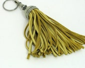 Key fob (key ring) tassel made of pewter & bucksin leather