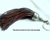 Key fob (key ring) tassel made of pewter & brown  leather