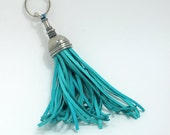 Turquoise Key fob (key ring) tassel made of pewter & leather