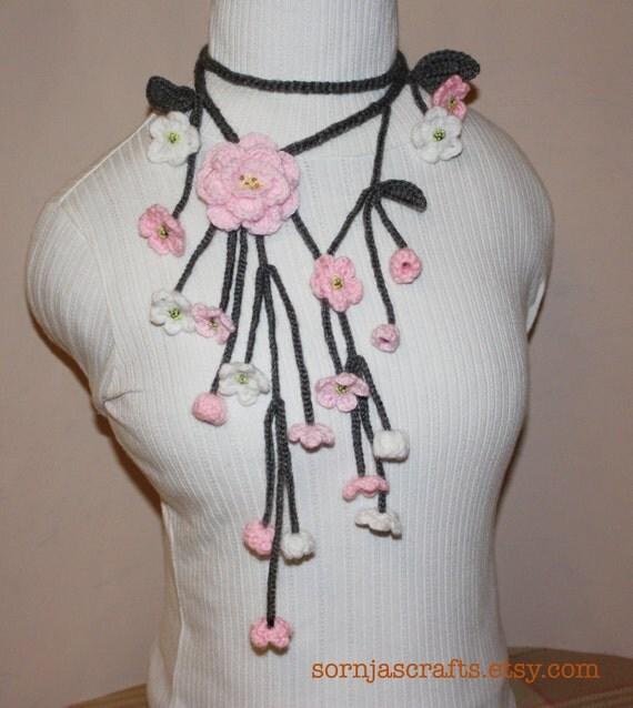 ON SALE-Crochet Cherry Blossom Scarf