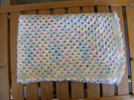 Crochet Lap Blanket : Items similar to Crochet Baby Blanket or Lap Blanket in a Granny ...