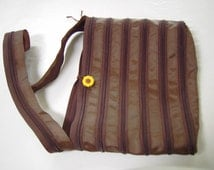 Cocoa Brown Zipper Purse with a Sunflower button