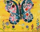 Children's Wall Art Print 8x10- butterfly, flowers, Nursery Art, Nursery Wall Decor, Girls Nursery,  Kids Art, Kids Room Art, Girls Room Art