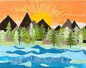 Sunrise Wall Art Print 8x10- mountains, tree, lake, river, sun, outdoors, Kids Art, Kids Room, Nursery Art, Childrens Art