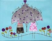 Friends Wall Art 8x10 Print, umbrella, rain, friends, Kids Room Art, Nursery Decor, Childrens Art