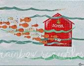 Children's Wall Art Print 8x10- school, fish, ocean, Kids Art, Kids Room Decor, Nursery Art, Nursery Decor, classroom, teacher art