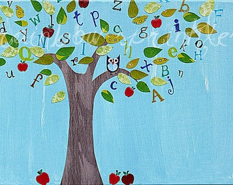 Nursery Wall Art, 8x10 Print- school, teacher, gift, classroom art, alphabet tree, Children's Room, Kids Art, Nursery Decor