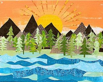 Sunrise Wall Art Print 16x20- mountains, tree, lake, river, sun, outdoors, Kids Art, Kids Room, Nursery Art, Childrens Art