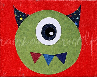 Children's Wall Art Print 8x10- monster, alien, Kids Art, Boys Room, Nursery Art, Nursery Room Decor, Playroom Art