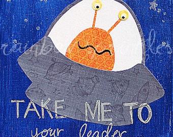Children's Wall Art Print 11x14- spaceship, alien, space, boy, outerspace, Nursery Art, Kids Art, Kids Room Decor