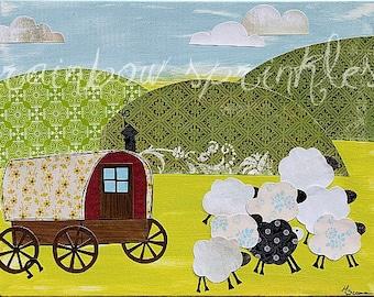 Basque Wall Art Print 8x10- ranch, sheep, wagon, wild west, herder, Kids Art, Childrens Room, Nursery Decor, Western Wall Art Gift
