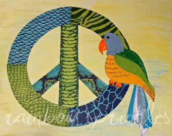 Children's Wall Art Print 8x10,- peace sign, parrot, jungle, jimmy buffett, kids art, nursery wall art, kids room decor, nursery decor