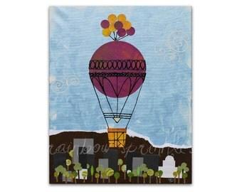 Wall Art Print 8x10- hot air balloon, city, boise, idaho, Kids Art, Kids Room Decor, Nursery Wall Art, Childrens Art