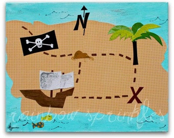 Children's Wall Art Print 8x10- pirate, map, x marks the spot, boy, Nursery Art, Nursery Room Decor, Kids Art, Kids Room Decor