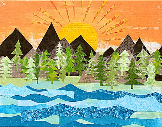 Sunrise Wall Art Print 16x20- mountains, tree, lake, river, sun, outdoors, Kids Art, Kids Room, Nursery Art, Childrens Art