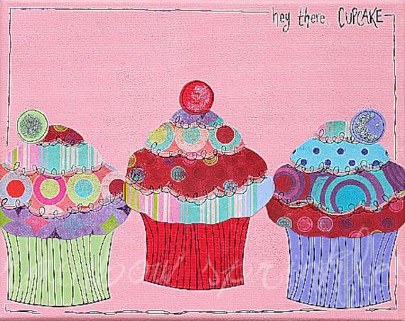 Children's Wall Art 8x10 Print- cupcake, birthday, celebration, Kids Room Art, Nursery Decor, Playroom Art