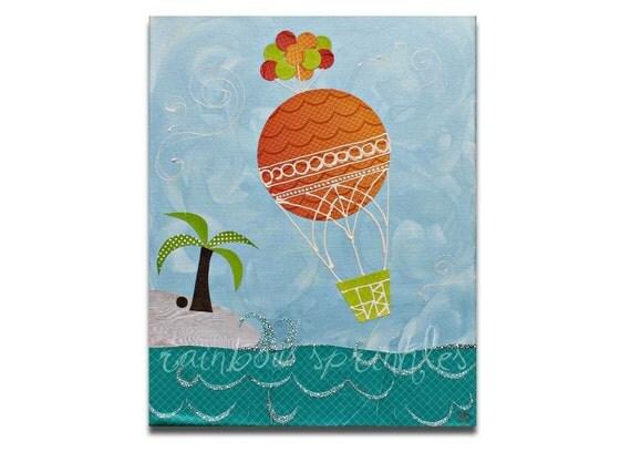 Children's Wall Art Print 8x10- hot air balloon, ocean, island, Kids Art, Kids Room Decor, Nursery Wall Art, Nursery Room Decor