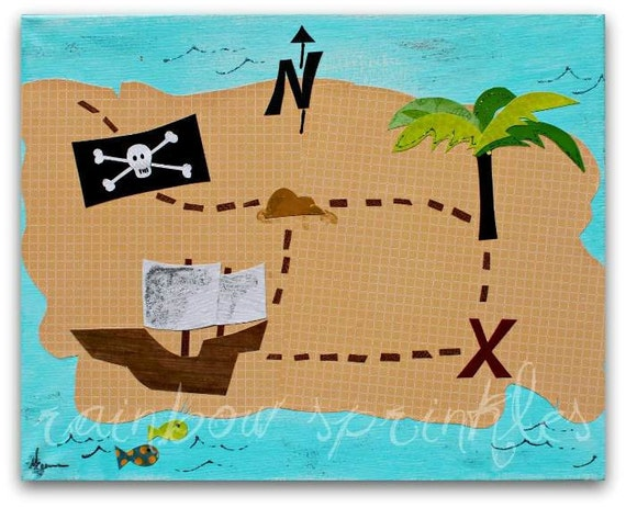 Children's Wall Art Print 8x10 pirate map x marks the