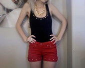 upcycled vintage red cuffed cut off shorts with gold studs