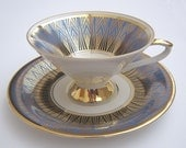 Art Deco Teacup and Saucer by Johann Seltmann Vohenstraub Bavaria German Blue Gold White Fine China