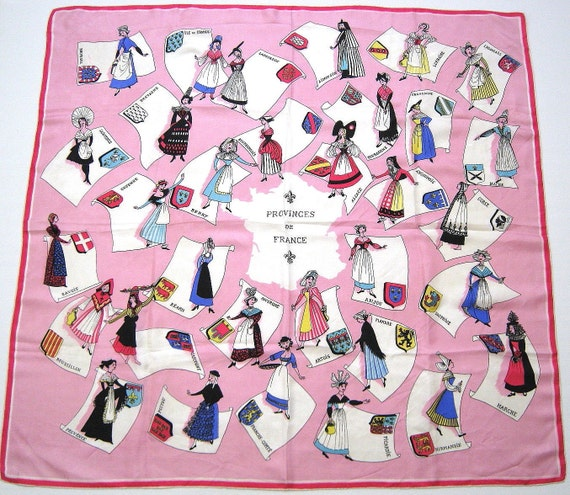 Vintage Scarf French Silk Costumed Ladies Hats Aprons Emblems Pink Large Square Traditional Dresses Coat of Arms