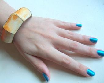 Vintage Bone and Brass Bangle Bracelet 1970s