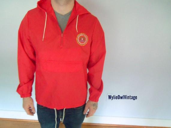 Vintage Red FBI  Zippered Rain Jacket 1970s