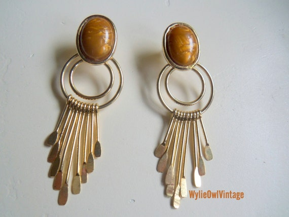 Vintage Gold Geometric Stud Dangle Earrings 1980s