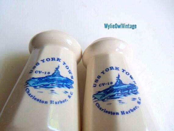 Vintage USS Yorktown CV-10 Souvenir Salt and Pepper Shakers