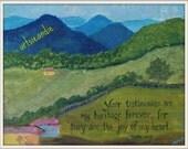Mountains- print of mixed media original art