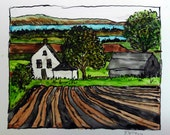 watercolor landscape print - The Farm