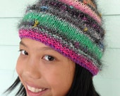 Winter wonderland handknit hat, multicolored pixie style, Noro yarn with Metallic sparkle accent fur.