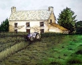 Irish farm watercolor painting, old homestead, tractor and green hayfields