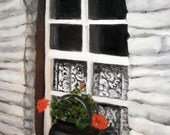 Celtic-Irish Cottage Window Print, with lace curtians and a kettle of geraniums