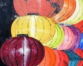 Lanterns a' plenty, oil on masonite, Hoi An, Vietnam