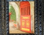 Red Door Original oil painting from my Vietnamese Adventure comes framed in gorgeous black Parisian frame.