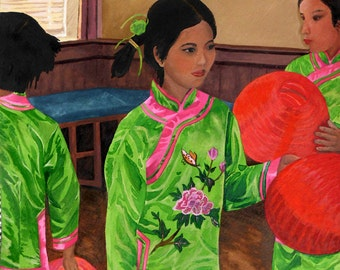 Chinese Dancers watercolor print in bright green and pink costumes with red asian lanterns