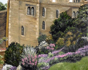 """oil landscape Scotland, print of """"Castle Gardens"""" from the """"Across the Pond"""" series"""