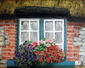 Irish windowbox with flowers and thathed roof, Art Print