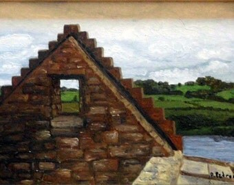 "Irish landscape Print,""Top o' the World"" Ireland Ruins Matted Print"