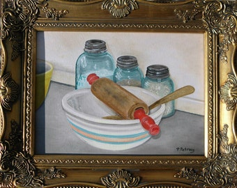 """The Recipe, oil on canvas will take you back in time.  The painting is an 9""""x12"""" and comes framed."""