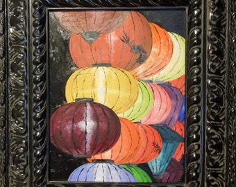 Lanterns a' plenty, oil on masonite, Hoi An, Vietnam comes framed with black, ornate, Parisian frame