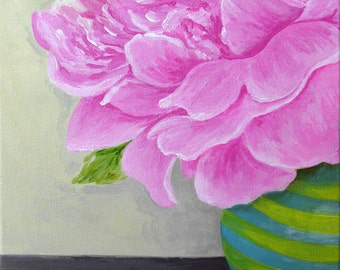"Peony, acrylic on canvas 8""x10"" original painting"