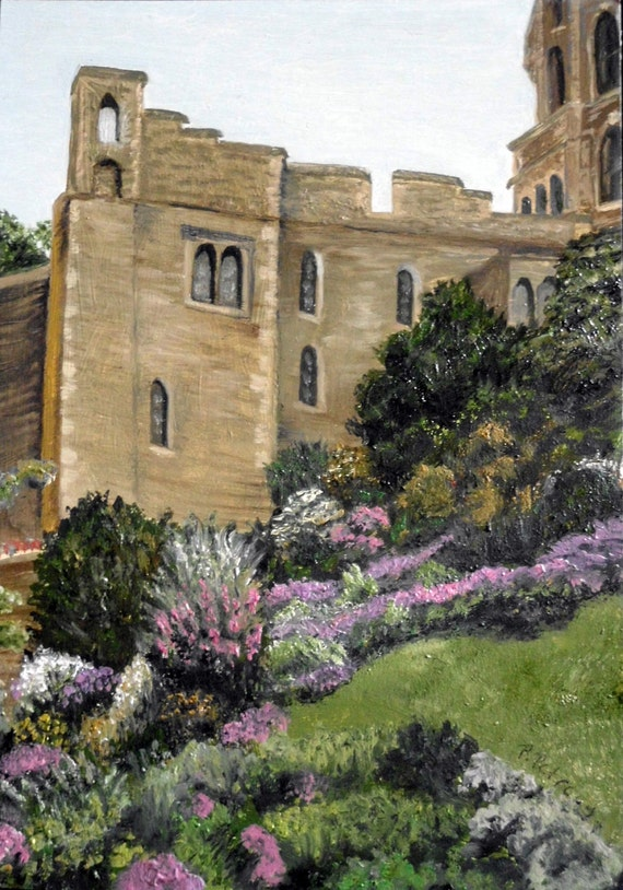 "oil landscape Scotland, print of ""Castle Gardens"" from the ""Across the Pond"" series"