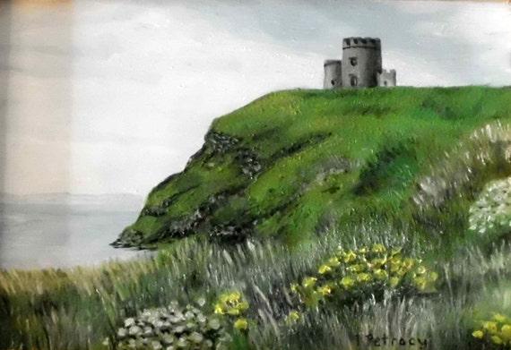 Cliffs Of Moher Castle Irish Landscape Print
