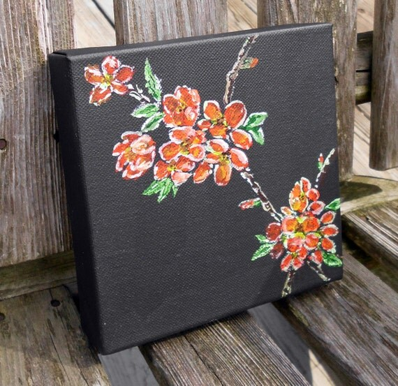 "Japonica - small 6 inch square original painting is 10th in the ""Alphabet Floral"" series"
