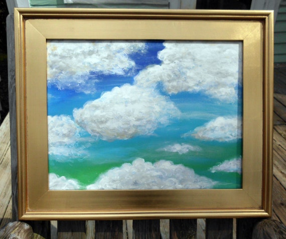 "Cloud painting ""Not Fat, just Fluffy"" original painting 14""x18"" acrylic"